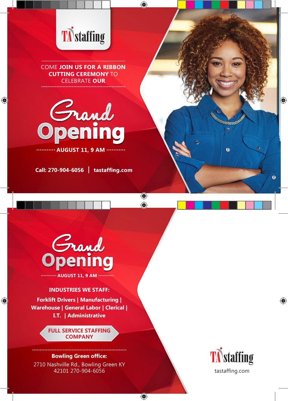 Design a layout for Full Color, 2 sided postcard for Grand Opening