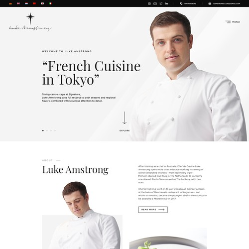 Web Design for Chef Luke Amstrong