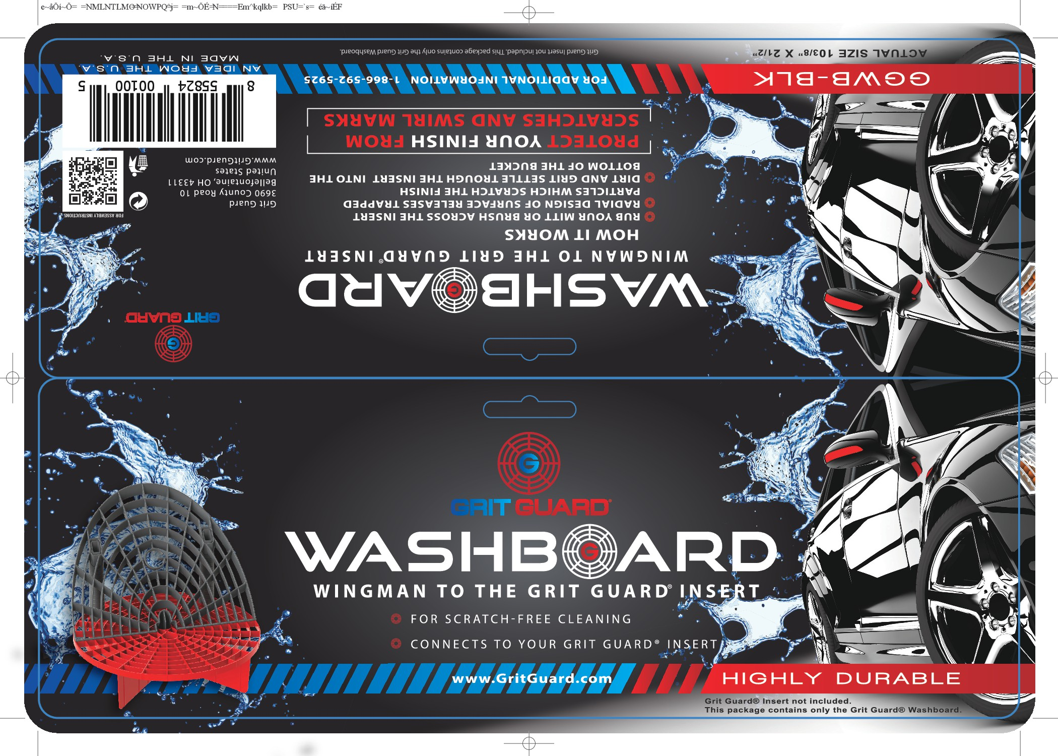 Design header card for the new Grit Guard Washboard - the new angle on car washing.