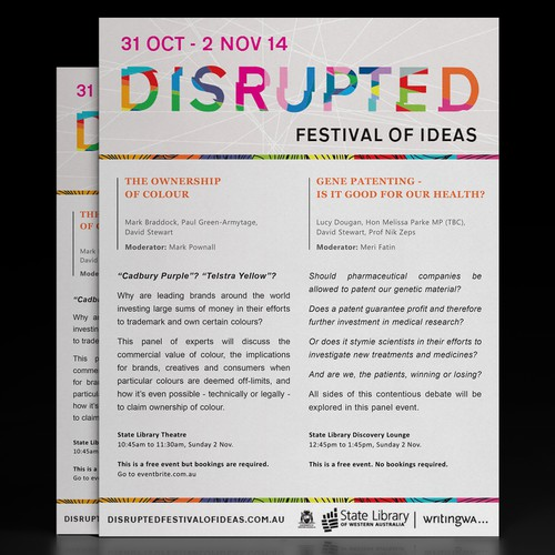 """Flyer for """"Disrupted"""" Festival of Ideas"""