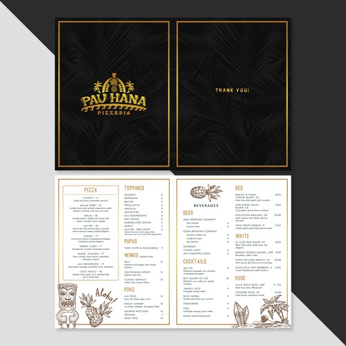 Hawaiian Pizzeria Menu Design