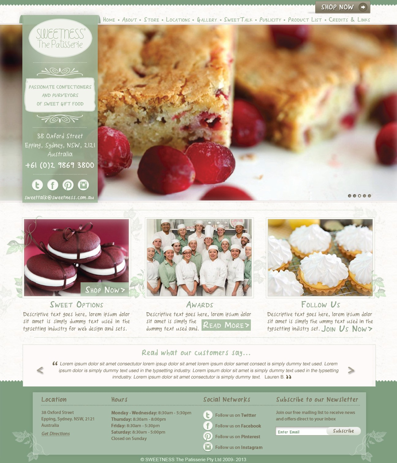 New website design wanted for SWEETNESS The Patisserie