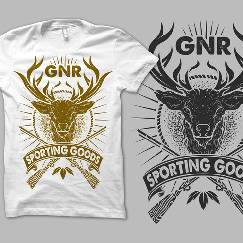 Create a badass hunting illustration for GNR Sporting Goods