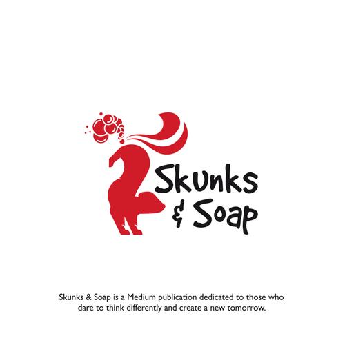 Funny charging skunk logo