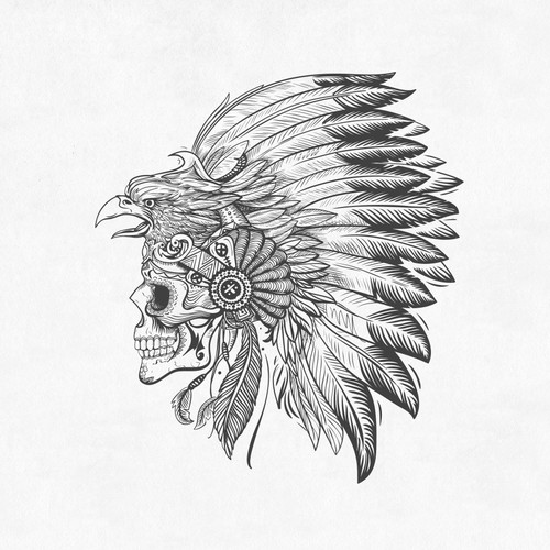 Provocative Mexican Headdress and Skull Design