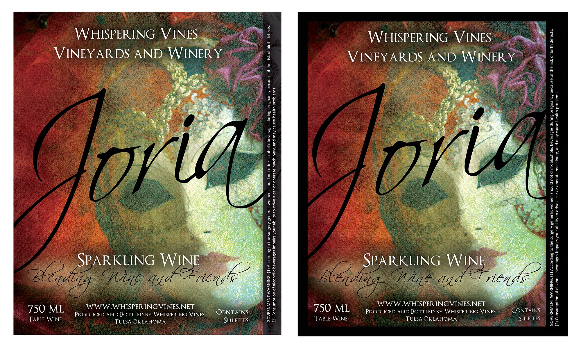 Create the next print or packaging design for Whispering Vines Vineyards and Winery