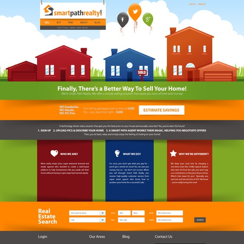 design a creative frontpage for an innovative real estate company