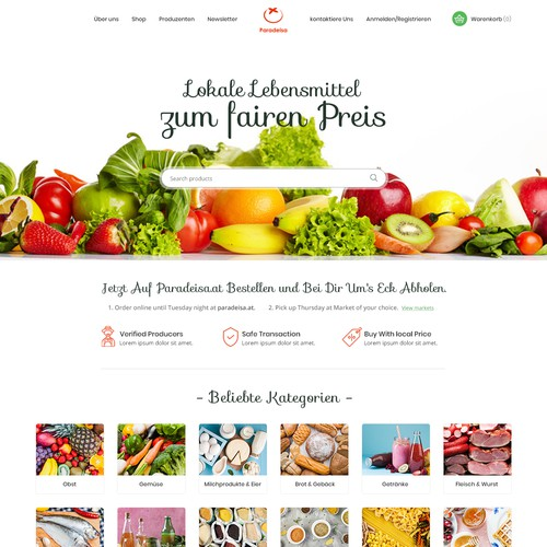 Website Design for Local Produced Food Provider.