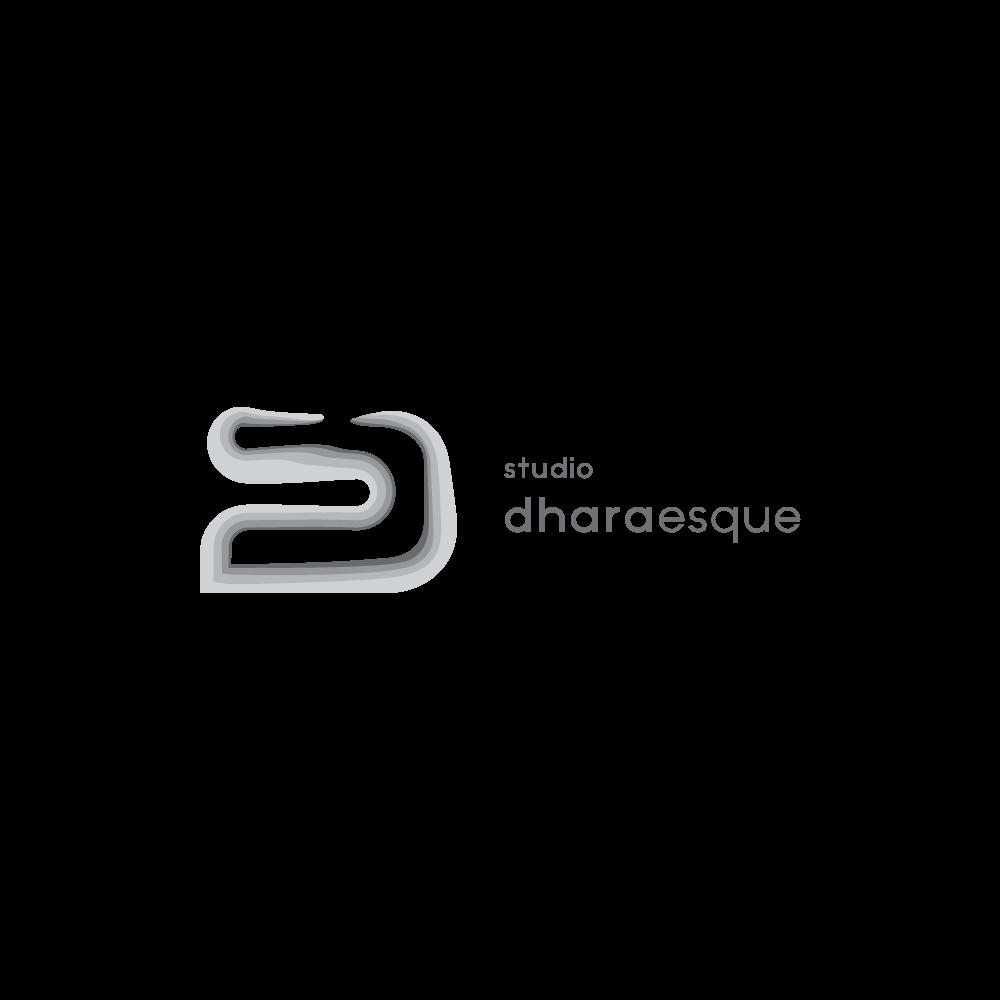 Vibrant, contemporary logo for Studio Dharaesque concrete home decor