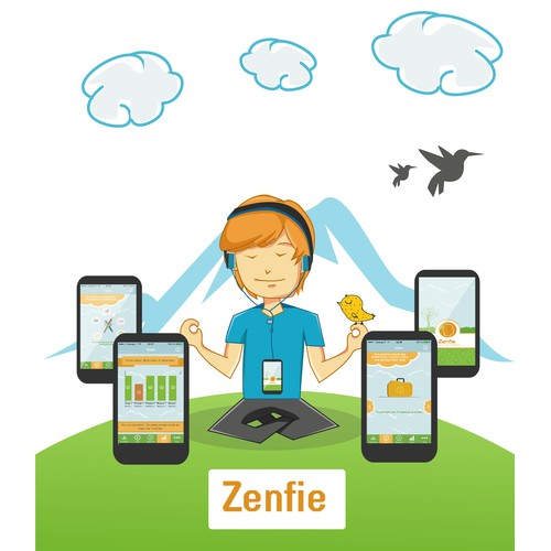 Create characters and illustrations for Zenfie