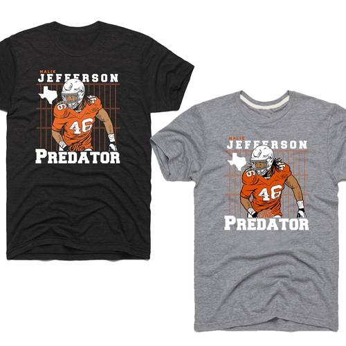 """ootball Inspired T-shirt Design for """"The Predator"""""""