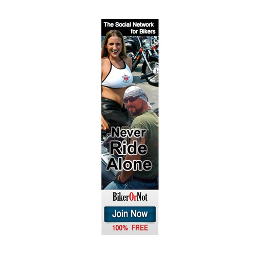 Banner ad for BikerOrNot 160x600 px