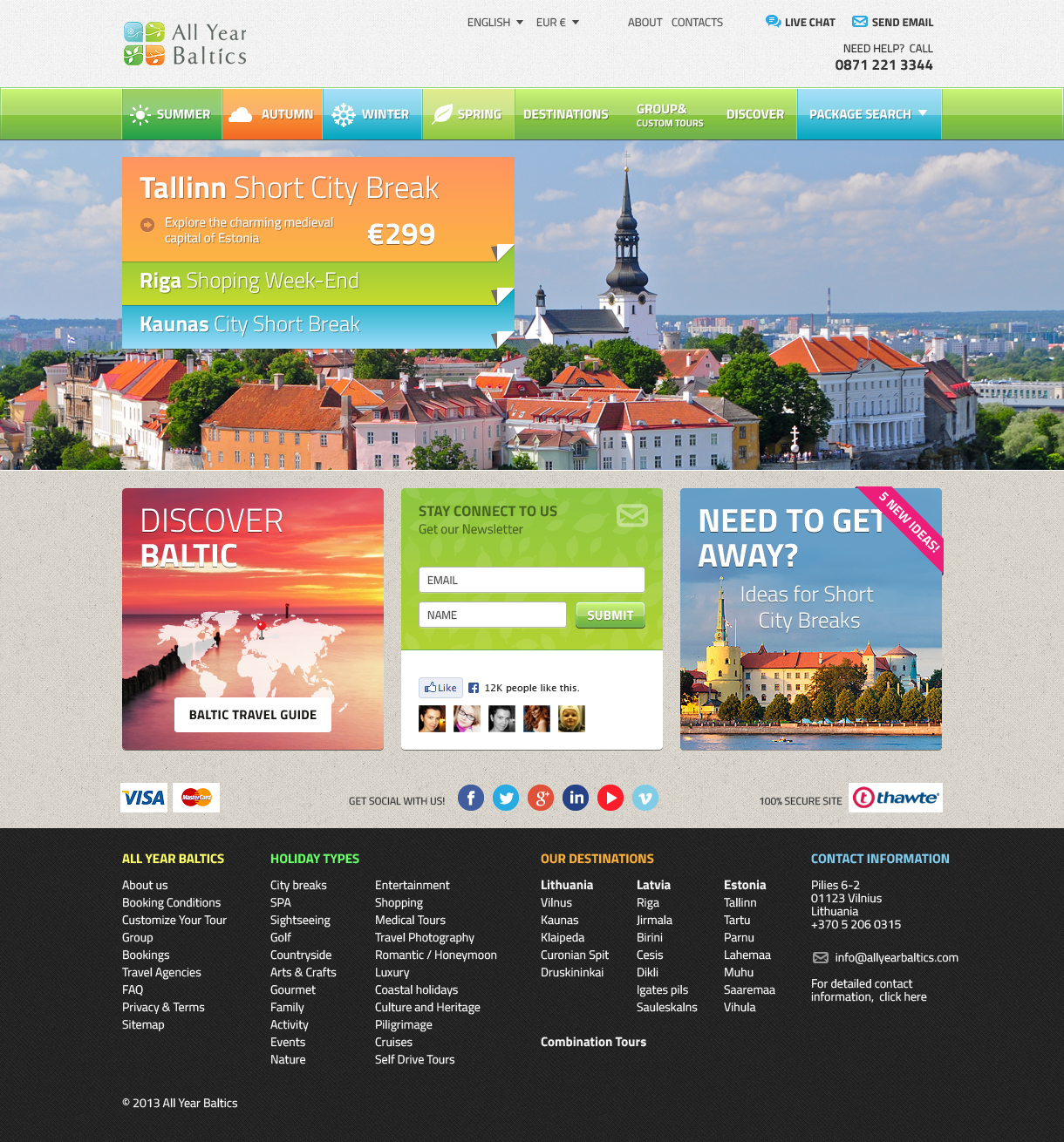 Home Page Design for a Travel Company