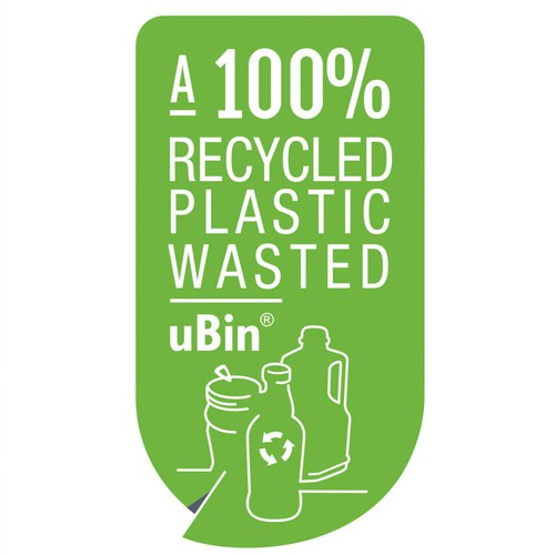 Product Feature Label to stick on 'worlds first 100% Post-consumerrecycled recycle bin'