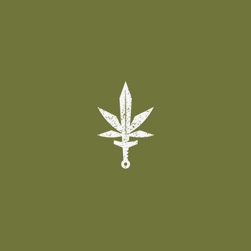 Sword with Marijuana Leaf