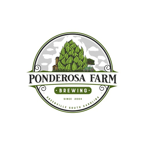 a classic but modern logo for Ponderosa Farm Brewing