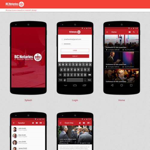 BC Notaries Members Mobile App design