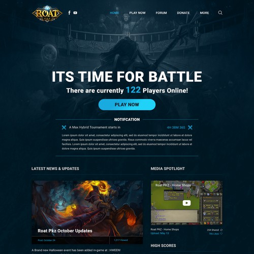 Online Game Homepage design