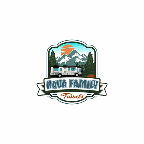 vintage logo for nava family travels