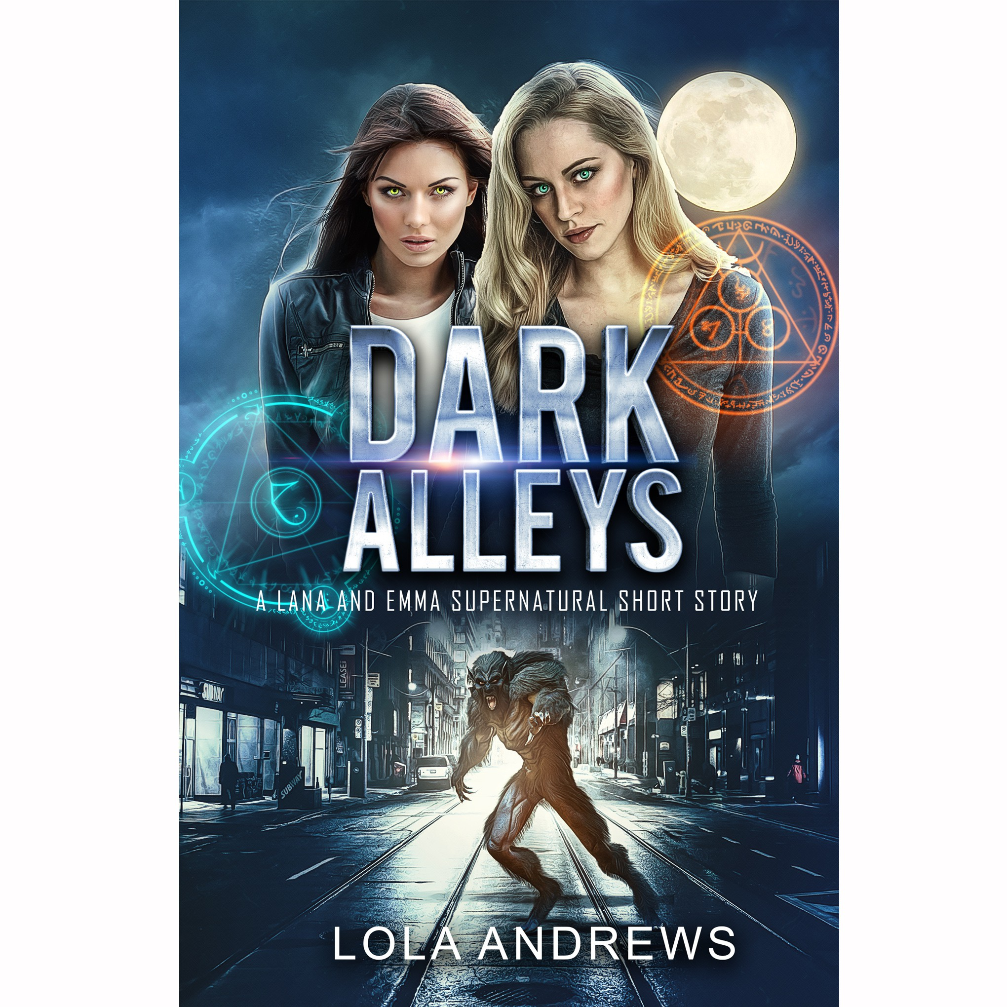 eBook cover for lesbian romance/urban fantasy story (werewolves and lesbians!)