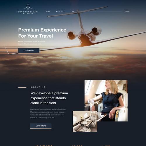 Homepage concept for private jet service provider