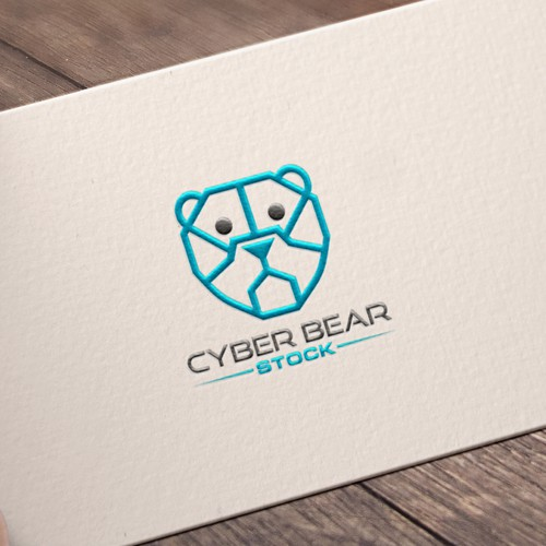 Hi tech abstract cyber bear logo concept