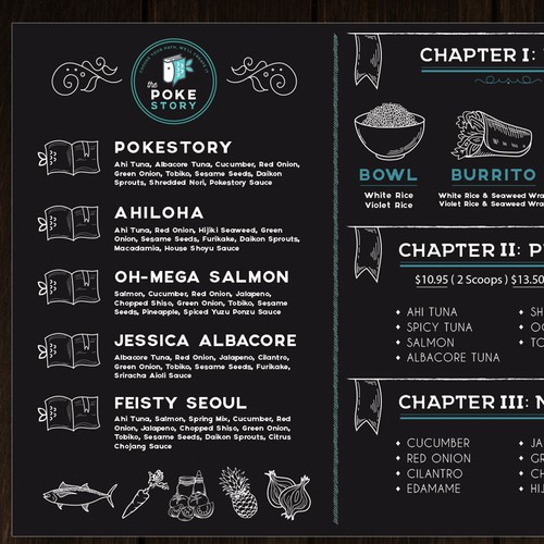 Board menu design for the restaurant