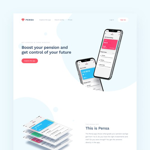 Landing page for Pensa app