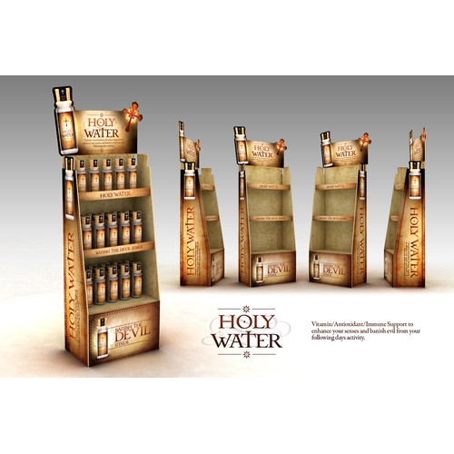 "Point of Purchase Display for ""Holy Water"" Drink Additive"