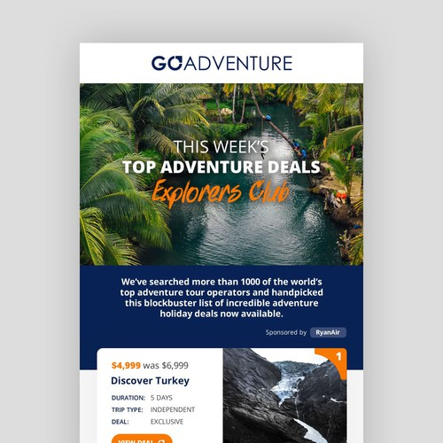 Email newsletter design for travel company