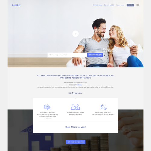 Homepage design for instant property rental for landlords