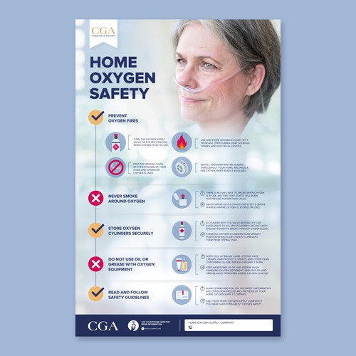 Poster with guidelines on using home medical oxygen safely
