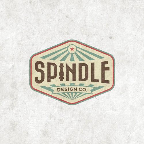 Vintage/retro logo for Spindle Design Co. - eclectic interior design firm in Austin, TX