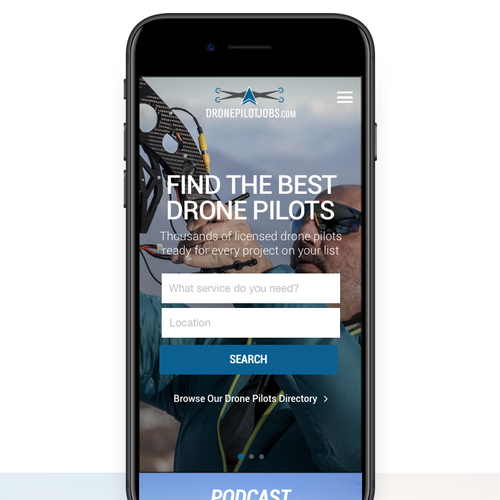 Mobile version for a drone pilot marketplace