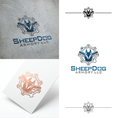 simple and modern logo for SheepDog Armory