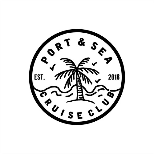 Hand drawn logo design for Port & Sea Cruise Club