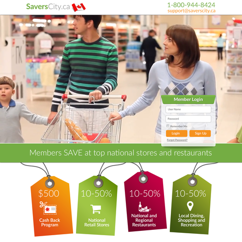 Create a consumer savings Membership Website style sheet!