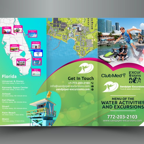 Sandpiper Excursions and watersports Brochure 3 folders