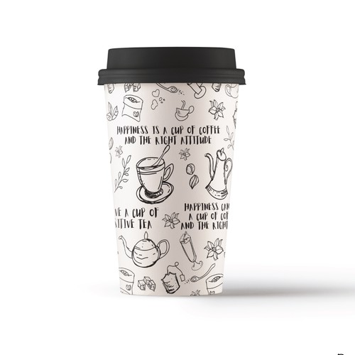 Doodle style design for coffee-to-go mug (seamless pattern)