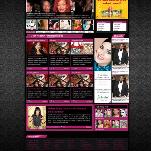 Huge visibility! Urban celebrity homepage design