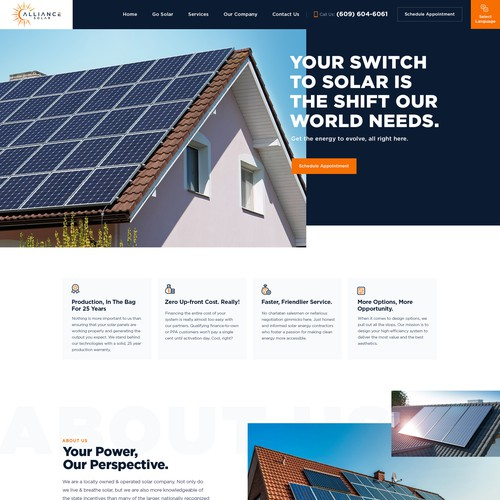 Bold & Unique Design for Locally Owned & Operated Solar Company