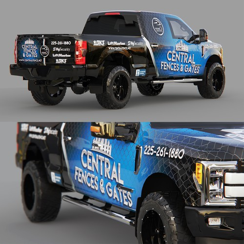 Central Fences & Gates Ford F250 full wrap design