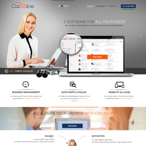 Home page for a new software management online.