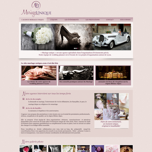 Wordpress template for a wedding planner website