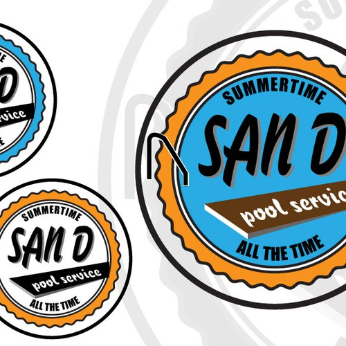 Create a stunning modern or vintage badge logo illustration for pool service company