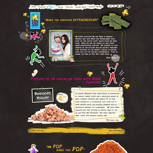 Redesign homepage for a fun gourmet popcorn company!
