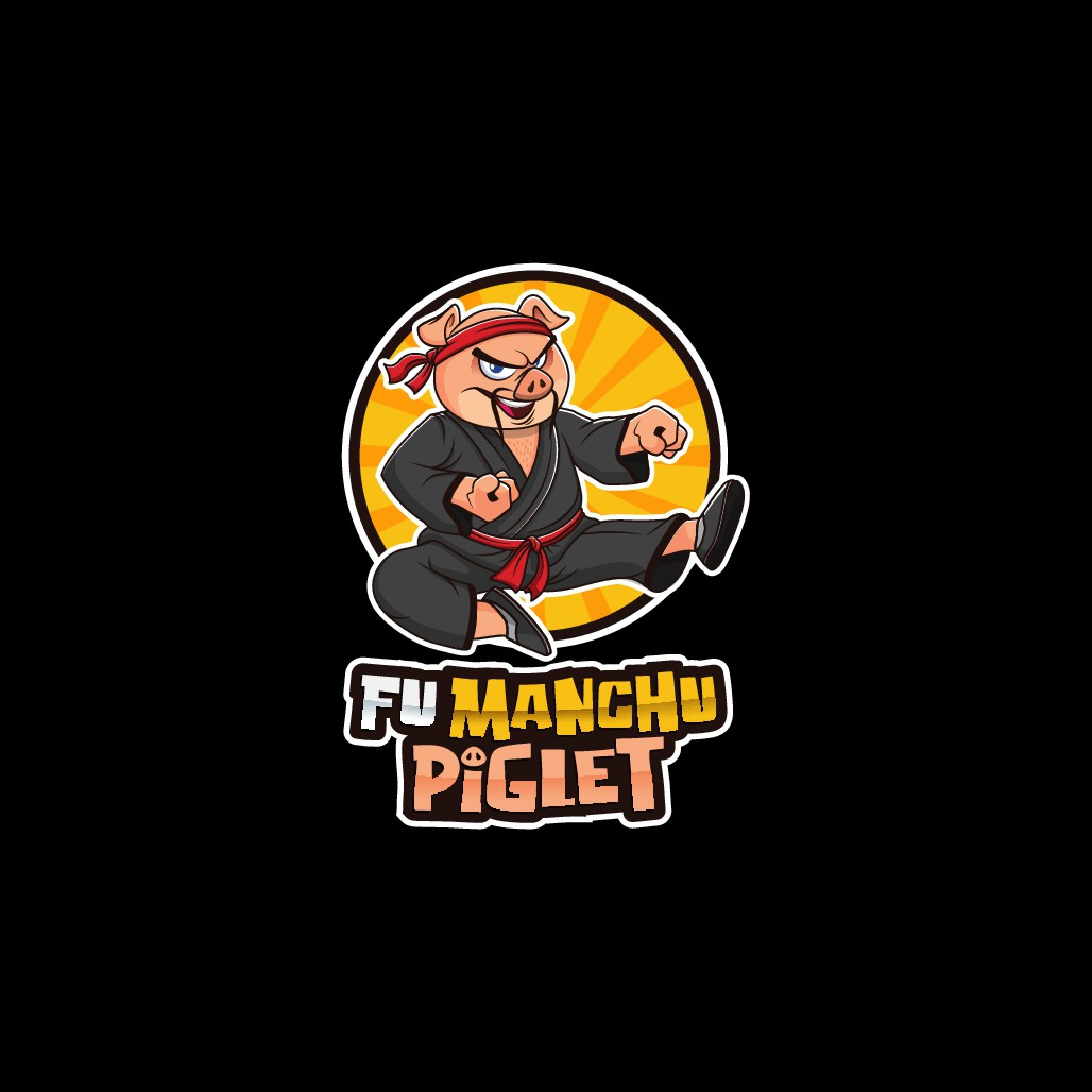 Let's see how good you are!   Super Hero style cartoon mascot Named Fu Manchu Piglet design.