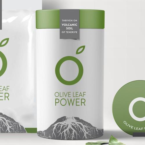 Olive leaf powder tube & sachet.