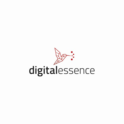 Modern, geometric logo for digital essence