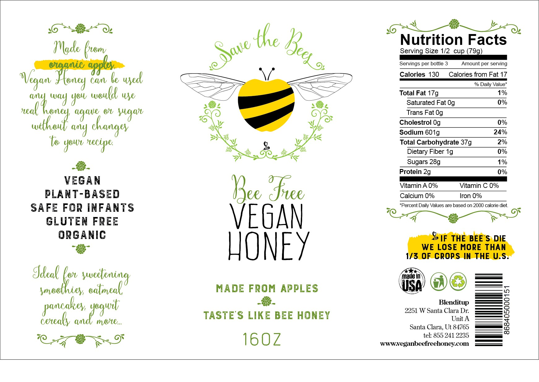 Create an eye-catching label for a bee-free vegan honey.